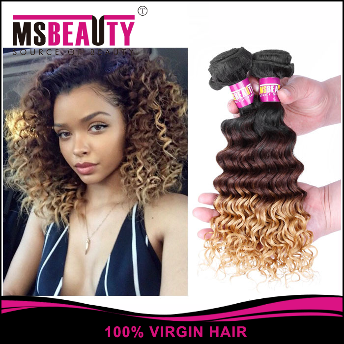 Msbeauty Grade 7A Brazilian Ombre hair Italian Curl Ombre Hair Extension Color 1B/4/30# 100% Human Hair