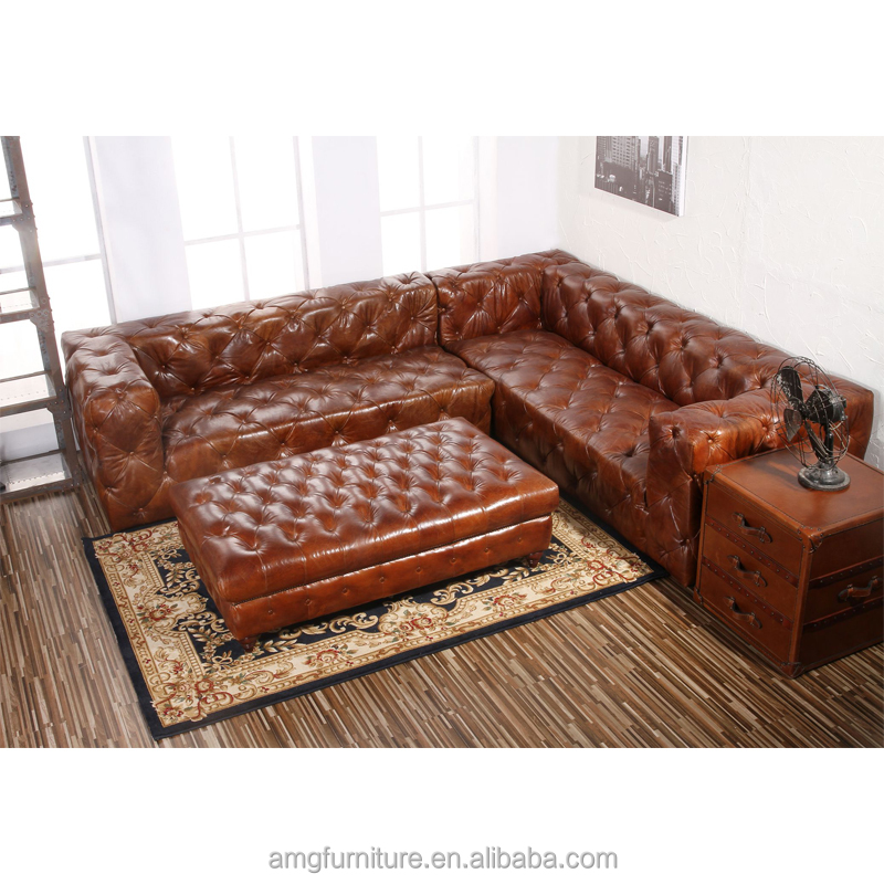 Handmade Aged Distressed Tailored Antique Leather sleeper Sofa
