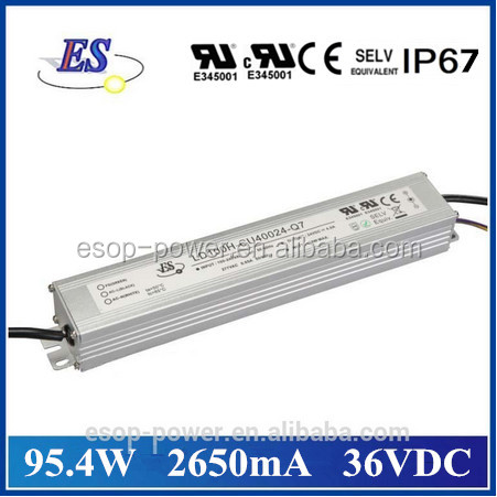 100W 2650mA 36V AC-DC Constant Current Dimmable LED Driver with 1-10V dimming ,CE UL CUL IP67 Approved