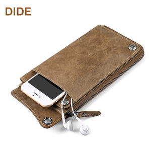DIDE Wholesale High Quality Waterproof Men Leather Wallet Genuine Money Phone Wallet With Large Capacity