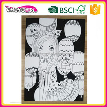 super style BSCI cartoon coloring velvet drawing board