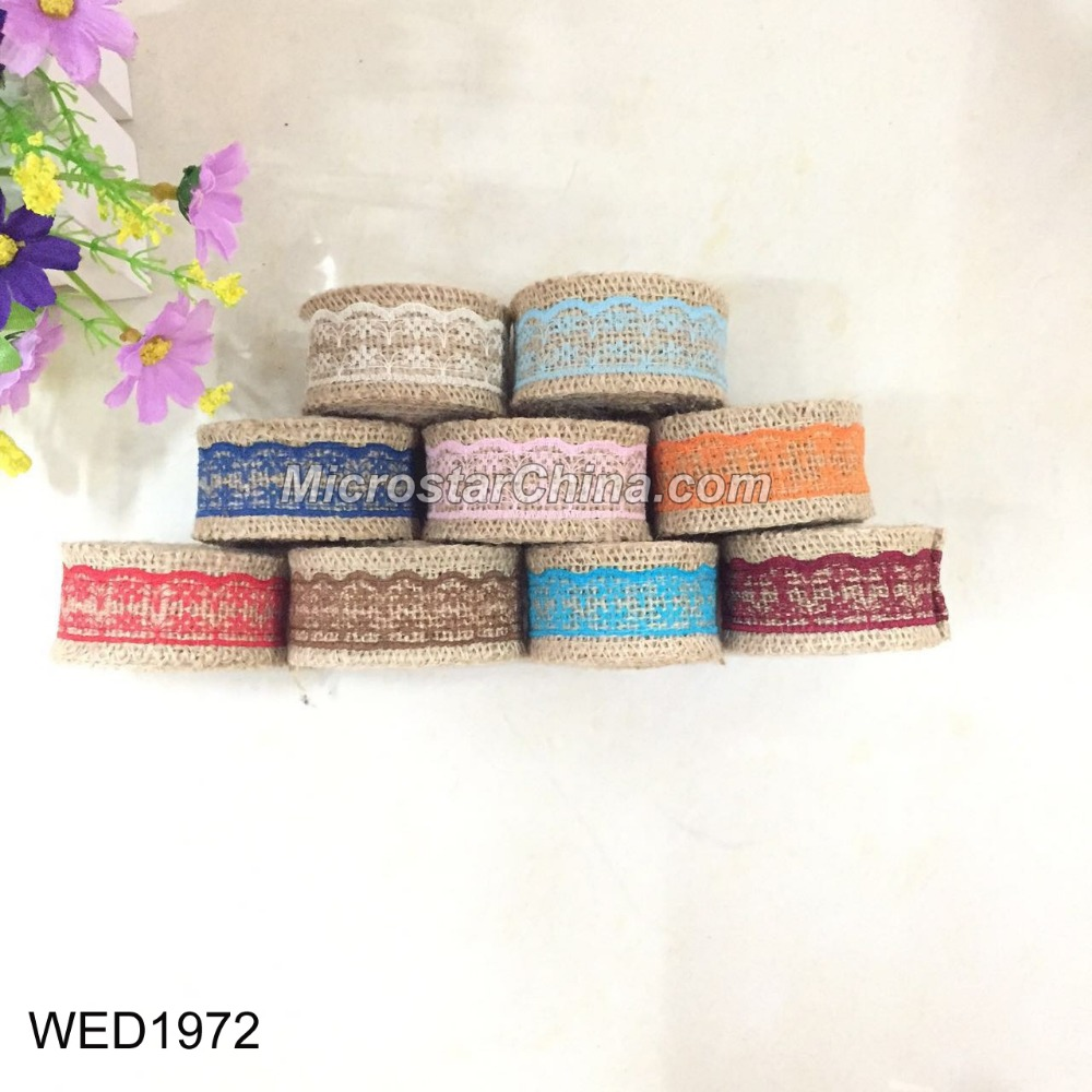 FengRise New design Natural Hessian Jute Burlap Ribbon Lace for Wedding