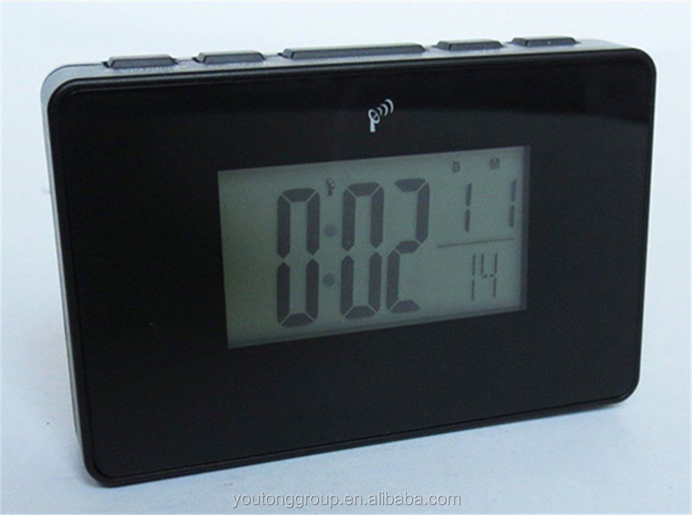 Black Digital Alarm Clock,Tempeture Display Table Clock By Radio