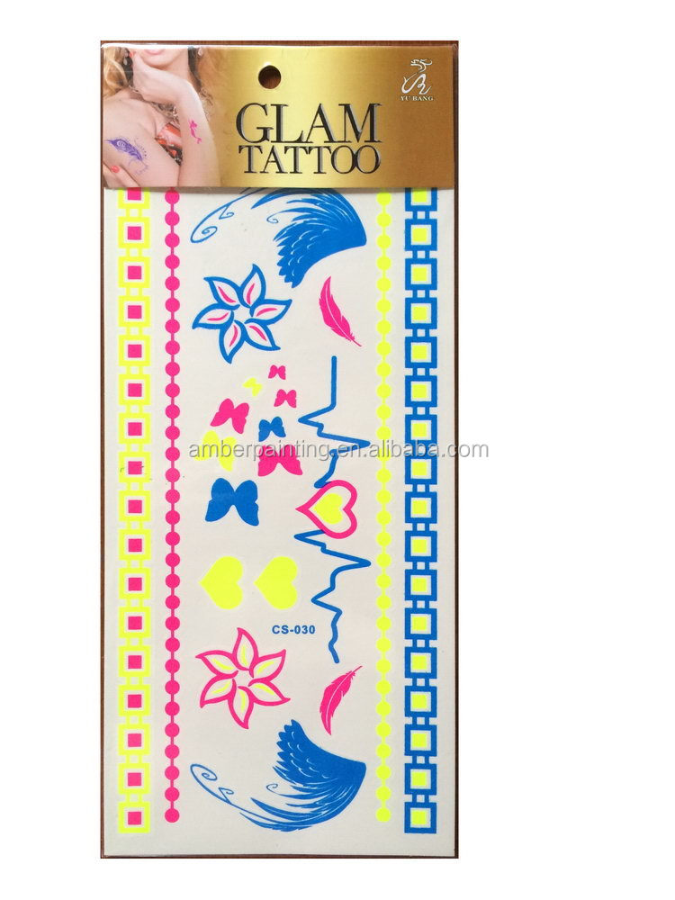 Popular new products uv change color tattoo sticker