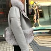 Wholesale genuine leather fur jacket short real shearling sheepskin fur coat with fox fur collar
