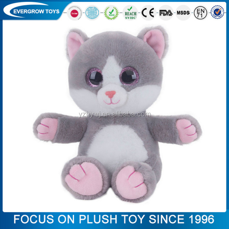 2016 hot paillette eyes grey cat plush toy