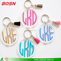 High quality clear custom monogram keychain lucite Perspex logo keyring wholesale