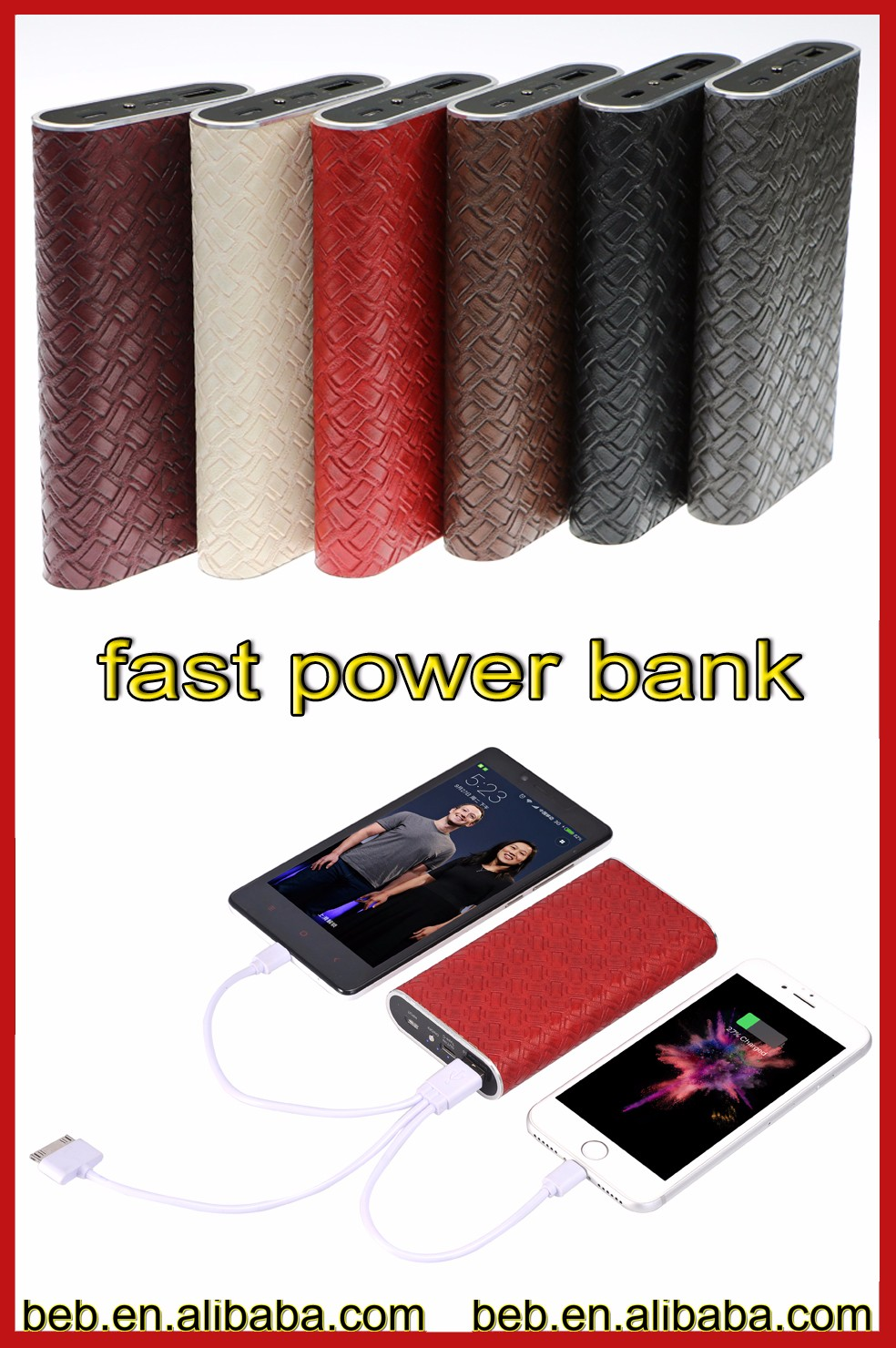 Manufacture 10000mah quick charge 3.0 power bank for iphone7 iphone6 emergency power bank
