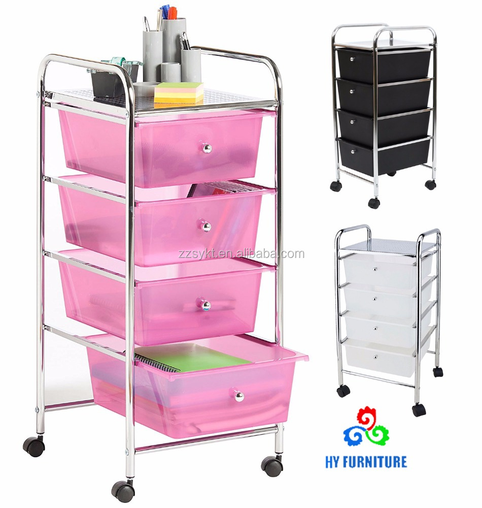 Rolling 4 tiers office plastic storage racks drawers organizer carts trolleys with wheels
