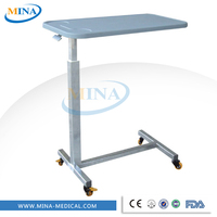 MINA-G06-C Cheap adjustable hospital table tray,over bed table with wheels