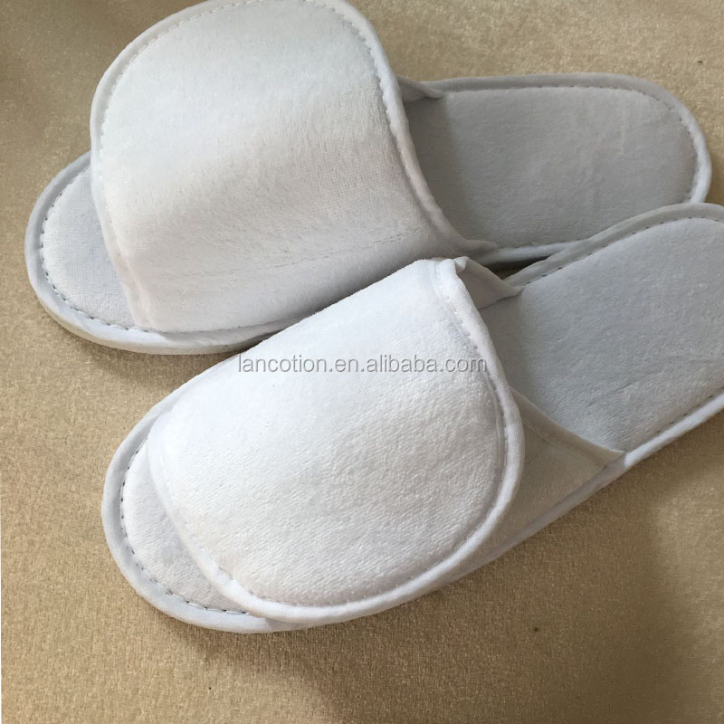 hotel amenities disposable hotel slippers cut velvet open toe personalized hotel slippers