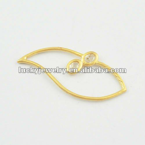 Wholesale Fashion 24K Gold Leaves Pendants for DIY Jewelry Making with Stones