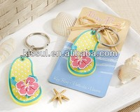 """Flip Flop"" Tropical Flower Key Ring Wedding party gifts and Beach theme wedding favor"