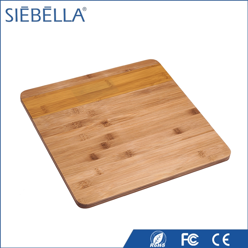 Natural bamboo personal scale LED display digital weighing bathroom scale for household use