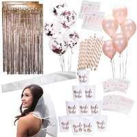 Umiss, Rose Gold Pink Bachelorette Party Supplies Decorations Kit, Balloons, Backdrop, Cups, Straws, Tattoos, Sash, and Veil