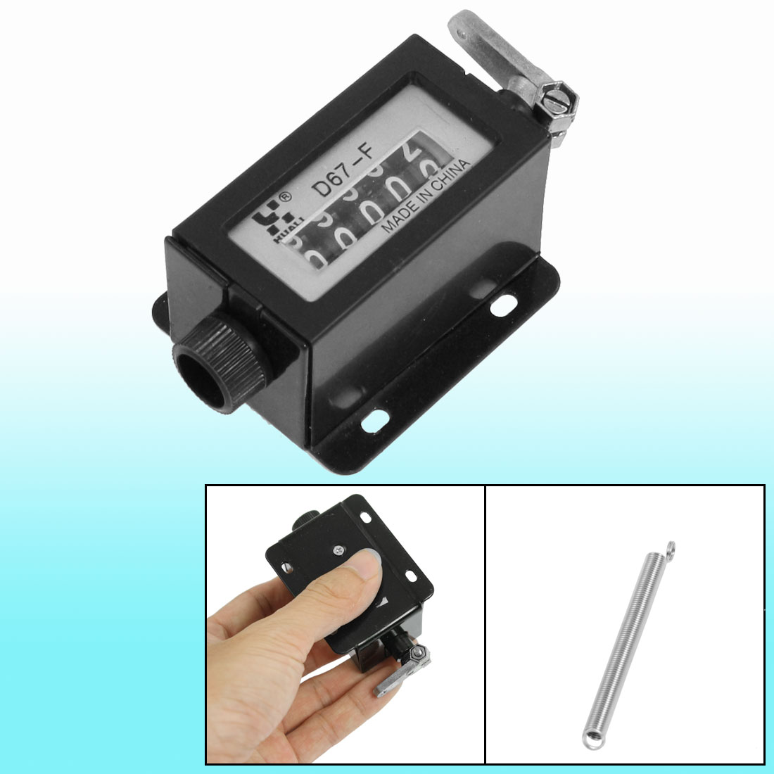 D67-F Black Plastic Shell 5 Digits Mechanical Pull Counter