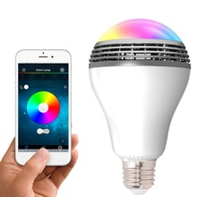 Hot selling remote control stereo audio bluetooth speaker led bulb wireless bluetooth colorful lamp changeable led bulb manual