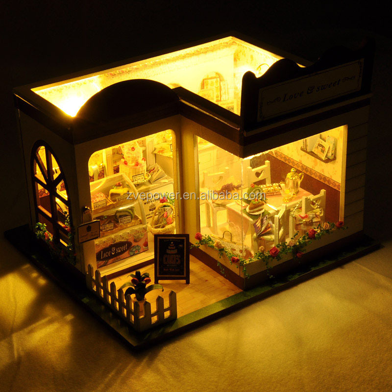 Cute Mini DIY Wooden Doll House With Light Kids gift toys for birthday
