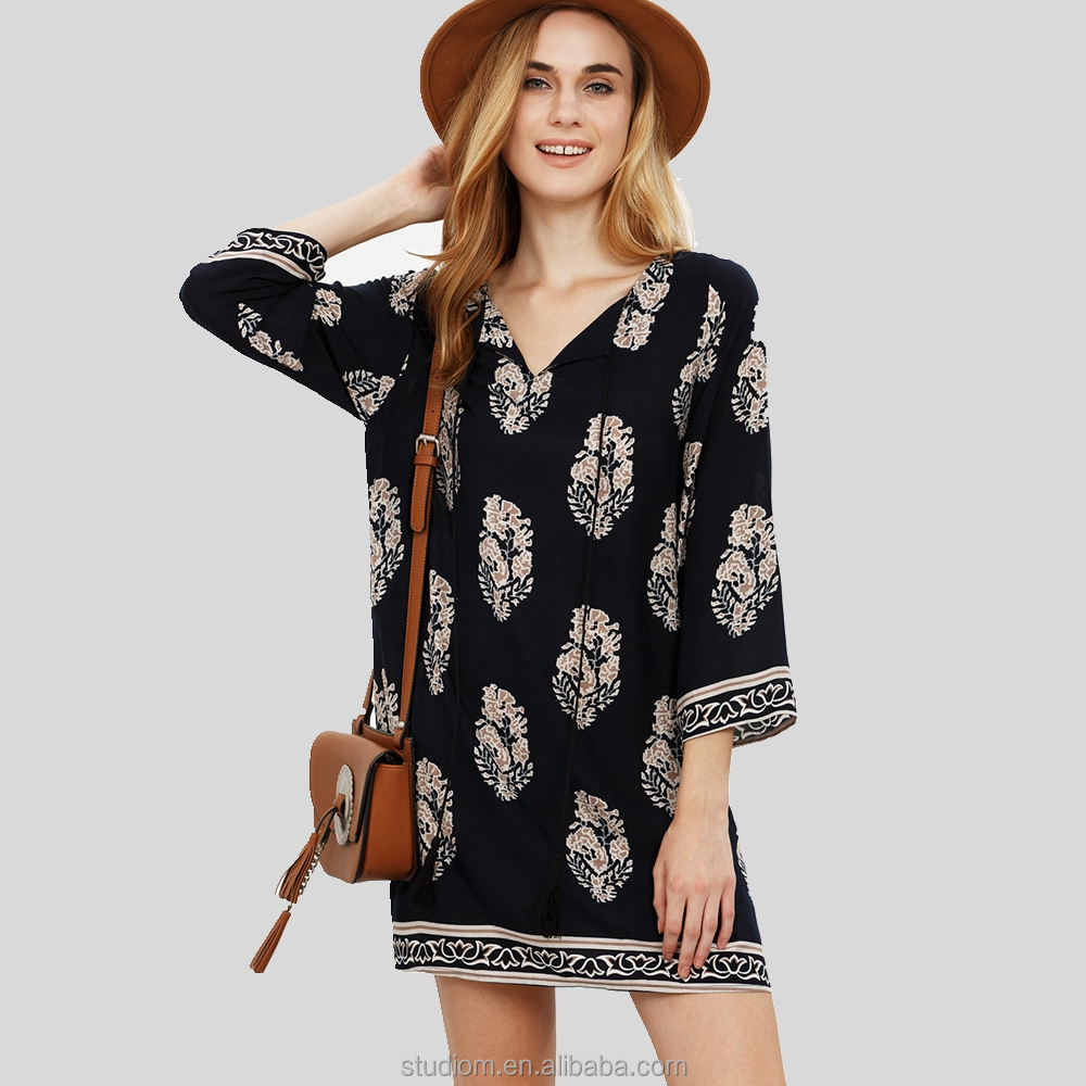 Western woman boho apparel clothing & lady long sleeve casual frocks