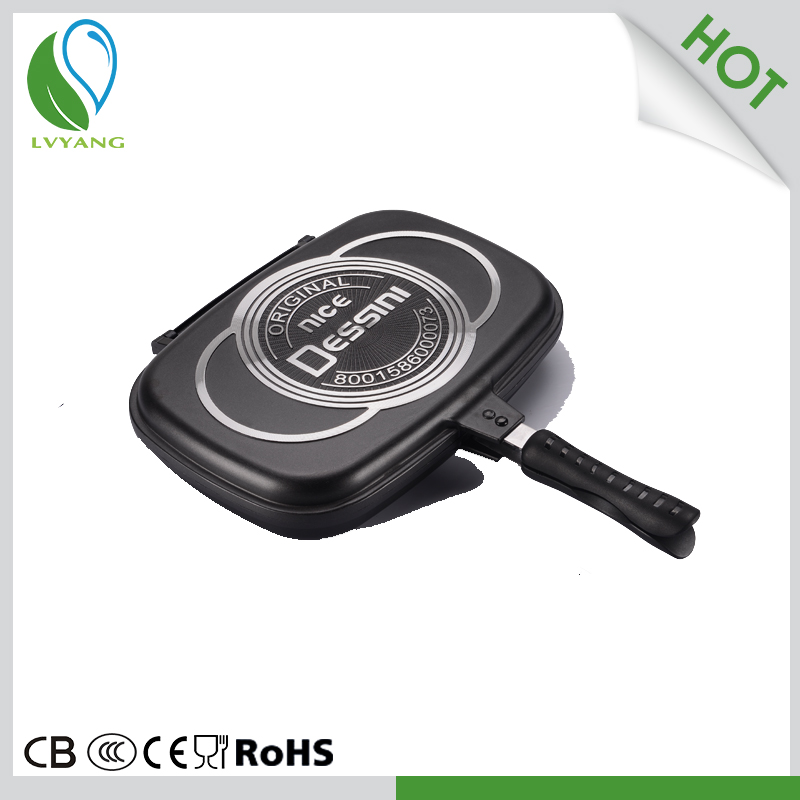 low price square no oil fry pan