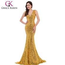 Grace Karin Sexy Mature Ladies Deep V-Neck Shining Gold Sequins Formal Long Mermaid Evening Dress CL6052-1