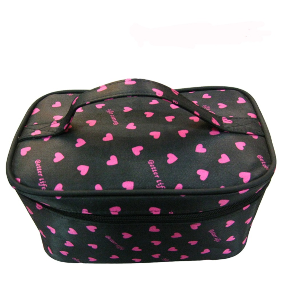 Fashion Black Fabric Pink Heart Printed Travel Case Satin Toiletry Bag