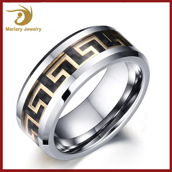 Best Selling Products Custom Spikes Signet Mens Tungsten Class Ring Jewelry, Greek Key Design Carbide Tungsten Ring