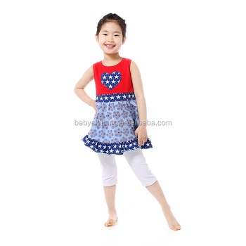Howell frock design top white capri pants set korean kids fashion wholesale clothes