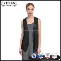 Women Leather Vest Black Vest with Faux Suede Spring/Summer Style Vest