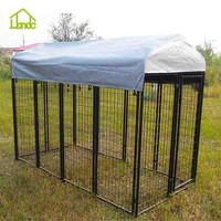 Welded square tube black dog kennel runs with waterproof cover for 4 dogs