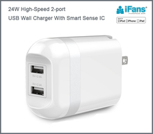 USB Wall charger 24W 4.8A universal for cell phone and iPad tablet ,CE,ROHS,FCC certified