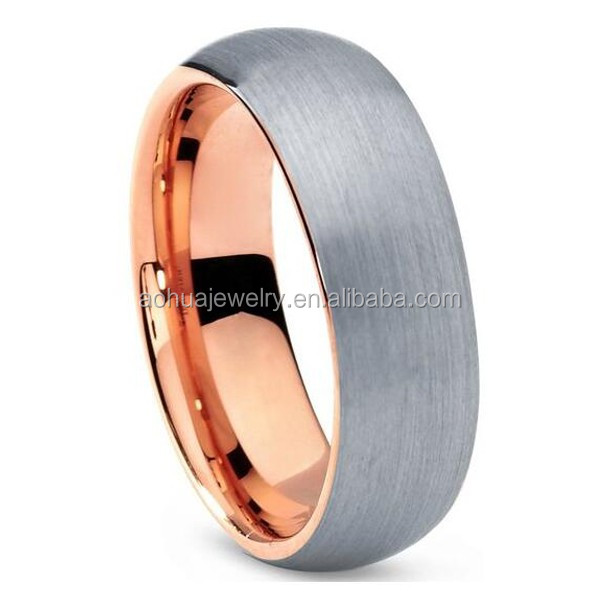 fashion jewelry, men's tungsten carbide wedding ring with black&rose gold plated and silver brushed surface 7mm