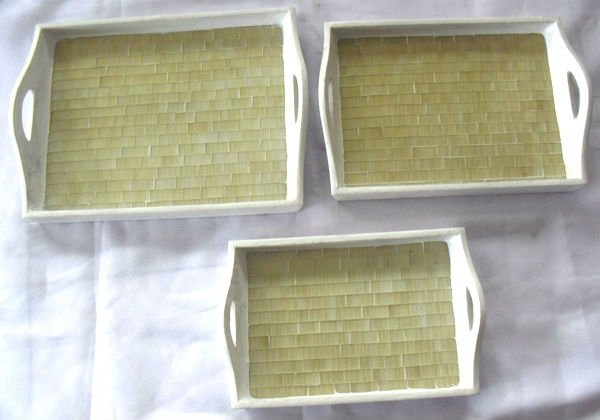 Wooden Tray Set White glass mosaic plated