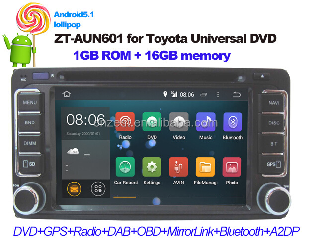 Android5.1 car DVD GPS navigation for Toyota corolla auto radio car multimedia with Wifi 3G Bluetooth Mirrorlink OBD DAB