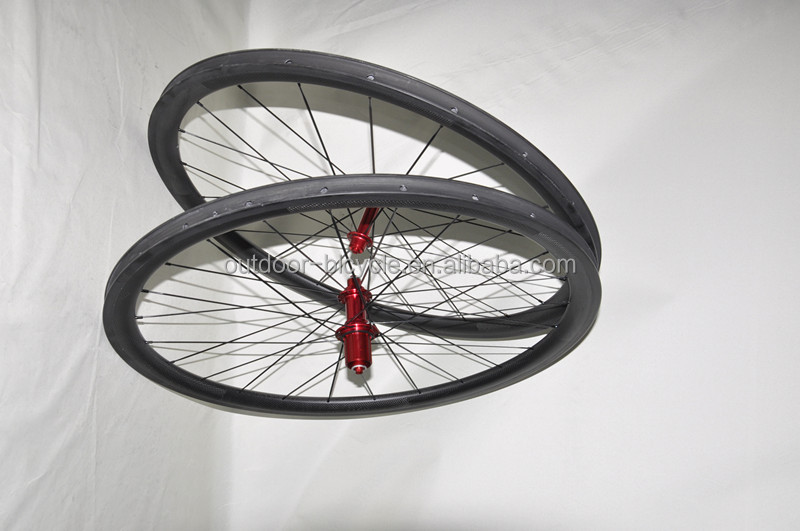 2014 hot sell 700C Carbon Road Wheel/25mm width carbon wheel set/tubular wheelset/clincher wheelset