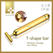 New Design Beauty Personal Care Device T-Shape Vibrating Germanium 24K Gold Home Use Facial Massage Beauty Bar