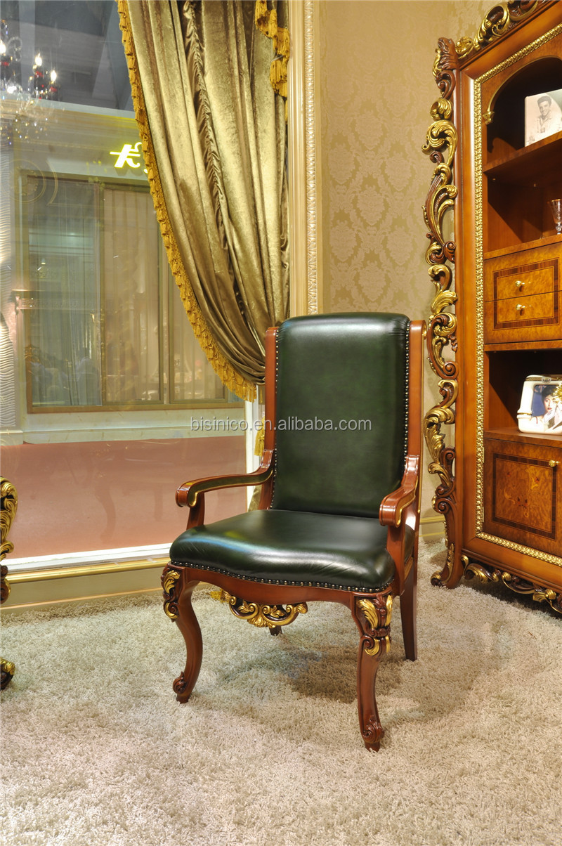 French Marquetry Wooden Executive Office Desk Set, Villa Lordly Luxury Writing Desk Set in Brown and Gold Color