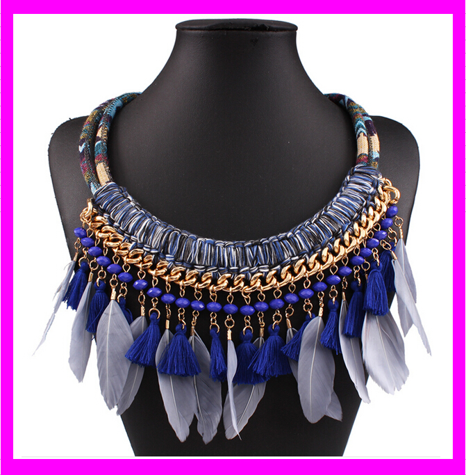 KD6748 newest thick rope chain necklace feather meaning wholesale