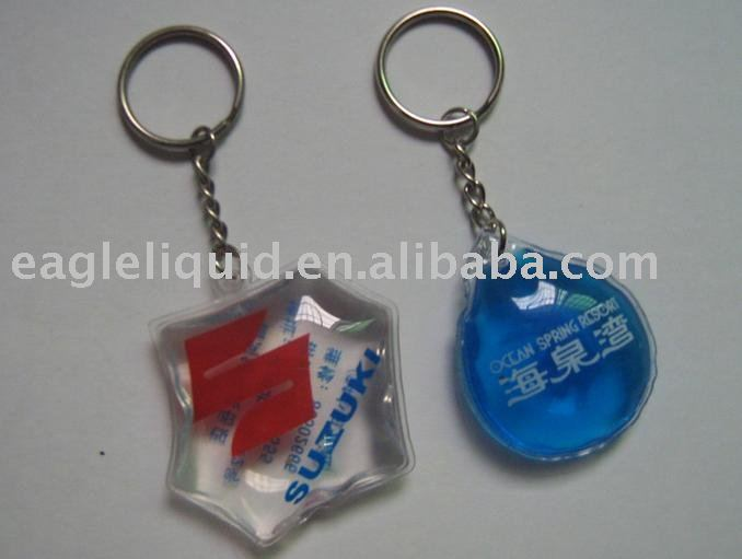 Fashion and cheap promotional gifts liquid pvc keychain