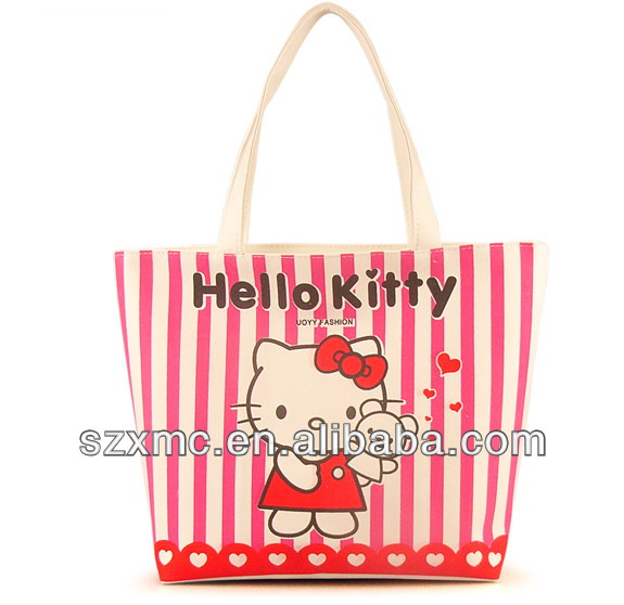 Lovely design cartoon cat tote bag canvas gift bag wholesale