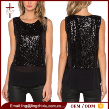 Sequin top with contrast silk hem fashion design muslim lady blouse