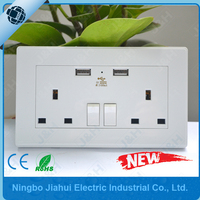 china alibaba CE UK Wall Socket with double 2.4A USB port, CE british wall socket with dual 2400ma usb port and switch