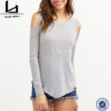 online shopping women fashion cold shoulder scoop bottom t shirt women