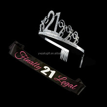 happy 21st birthday party decorative birthday tiara and sash