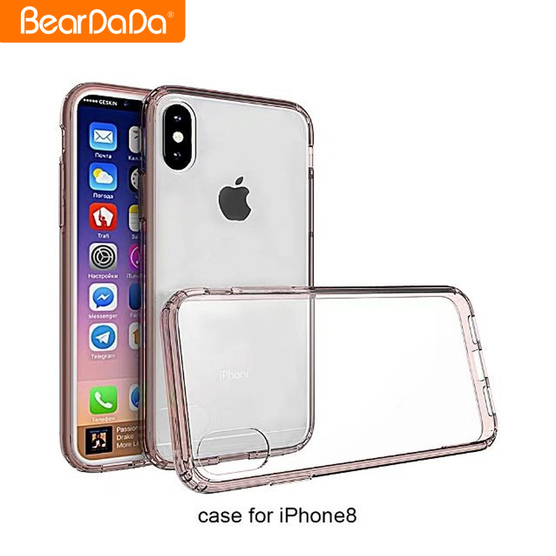 Hot sale acrylic tpu clear transparent back cover case for iphone 8,for iphone 8 shockproof case