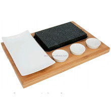 Lava Rock Cooking Stone Set,Resturant Natural steak grill lava stone wood steak plate lava stone pot