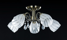 Modern popular bronze iron chandelier glass crystal led pendant light ceiling lamp with 5 heads