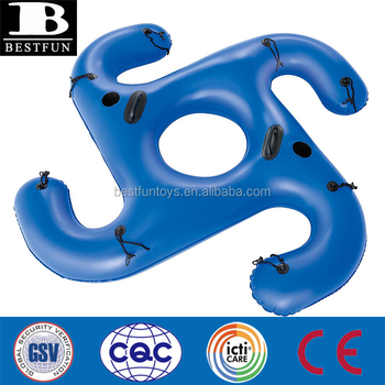 Custom strong 18 gauge vinyl Hurricane ConnectZ Inflatable Pool Tube Float lake tube with heavy duty handles and cup holders