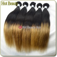 2014 Superstar Beyonce Style Unprocessed Raw Two Tone Ombre Virgin Brazilian Silky Straight Remy Human Hair Wef