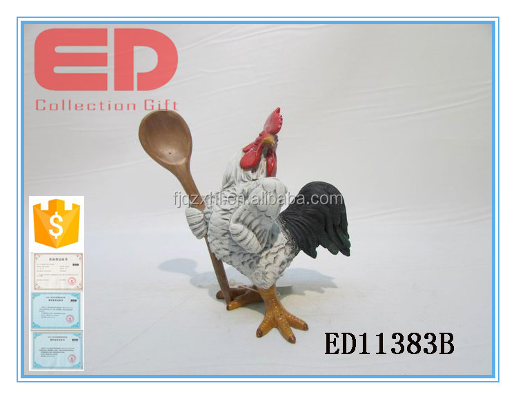 Miniature resin rooster figure